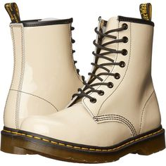 Dr. Martens 1460 W (Porecelain Patent Lamper) Women's Lace-up Boots ($100) ❤ liked on Polyvore featuring shoes, boots, beige, mid-calf boots, blossom boots, dr martens boots, victorian lace up boots, mid calf boots and mid boots