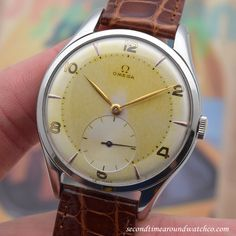 A 1948 Vintage Omega Ref. 2505-4 timepiece thats oversized for its time. Clocking in at 38mm, this stainless steel example wears well on the wrist and features a beautiful, patinated silver dial with yellow gold Arabic numerals and applied arrow... #omega #jumbo #oversized #vintage #patinated #dial #classic #simple #timeonly #classic #watch #vintage #watches #timepiece #cool #wristwatch #stawc