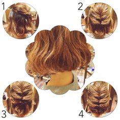 ヘアアレンジ*ヘアスタイル*ボブ*ボブアレンジ*くるりんぱ*hair*hairdo*arrange* くるりんぱの位置や数で雰囲気も色々変わる♪