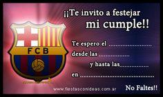 Tarjeta de cumpleaños de Barcelona-FC Barcelona Cake, Barcelona Party, Online Invitations, Birthday Invitations, Boy Birthday Parties, Birthday Wishes, Soccer Party, Soccer Ball, Borders For Paper