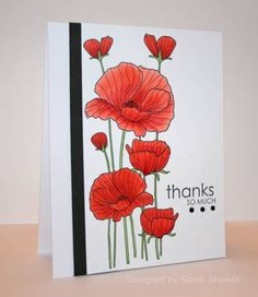 handmade card: Poppies by SeattleStamper .... clean and simple design ... luv this image from Hero Arts ...