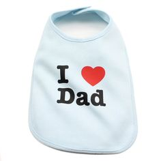 I Love Dad Baby Bib in Color Light Blue