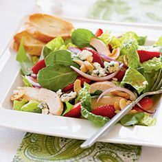 Dinner Salads with Poultry and Meats   Chicken and Strawberry Salad   CookingLight.com