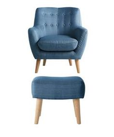 Buy Hygena Otis Fabric Chair and Footstool - Blue at Argos.co.uk - Your Online Shop for Armchairs and chairs.