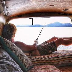 Casting from the couch. Back at the favourite fishing spot waiting for a bite in comfort. #fishing #lake #diy #fish #offgrid #vanlifers #vanlife #vanlifediaries #vanlifeexplorers  #vanlifemovement #wildernessculture #gopro #instagood #seeaustralia #adventure #explore #travel #outdoors #nature #wanderlust #projectvanlife #outsideculture #roadtrip #campingcollective #ourcamplife #travelgram #teamtravelers #modernoutdoors #goexplore #discoverearth