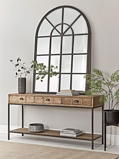 With a gently distressed black iron finish and twenty mirrored panels, our bold industrial style window mirror will make a statement in your living space. Inspired by our bestselling window mirror collection, it encapsulates factory chic with an elegant Dining Room Mirror Wall, Hallway Mirror, Hall Mirrors, Hallway Wall Decor, Hallway Walls, Hallway Decorating, Entryway Decor, Room Decor, Window Mirror Decor