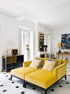 Pair of Mustard Velvet Chaise Lounges