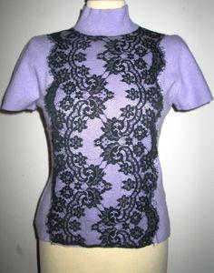 * * * DON GIL Kurzarmpullover mit Spitzeneinsatz lila/schwarz, Gr. Pullover Sweaters, Crop Tops, Ebay, Women, Fashion, Lilac, Clothing Accessories, Fashion Women, Breien