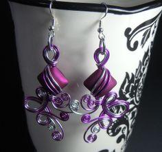 Triple Loop De Loop Purple Dangle Earrings by melissawoods on Etsy, $38.00