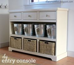 Custom-Built Entryway Console with 3 Drawers & Shelving {KregJig.Ning.com}