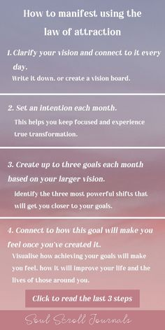 Learn how to manifest what you want using the law of attraction in 7 simple steps! Learn how to create clarity, set intentions, and achieve your goals. Manifestation Journal, Manifestation Law Of Attraction, Law Of Attraction Affirmations, Spiritual Manifestation, Law Of Attraction Planner, Secret Law Of Attraction, Law Of Attraction Quotes, Positive Affirmations Quotes, Affirmation Quotes