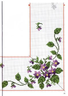 Embroidery Flowers Pattern, Flower Patterns, Cross Stitch Designs, Cross Stitch Patterns, Crochet Tablecloth, Cross Stitch Flowers, Cross Stitching, Needlework, Diy And Crafts
