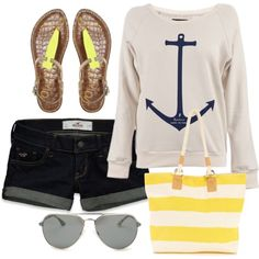 Anchors are HUGE this year! Try out your cute anchor top with stripes to finish off your nautical look.