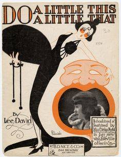 """1920 sheet music for """"Do A Little This ... A Little That"""" by Lee David ...""""featured by Miss Evelyn Nesbit in her new vaudeville offering"""" (Cover illustration by Paderewski.) (Source: UCLA digital archive of Popular American Music)"""