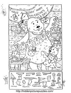 Hidden Picture Puzzle/Coloring Page for Valentine's Day