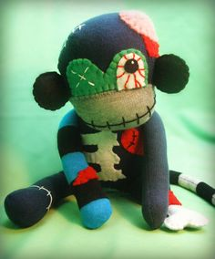 Jimmy The Zombie Sock Monkey Monster - Halloween Handmade Plush/Toy/Doll - Free Gift Tag Included. $38.00, via Etsy.