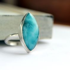 Caribbean blue Larimar sterling silver ring size 8 blue skies. $132.00, via Etsy.