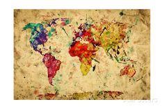Vintage World Map Art Print at AllPosters.com