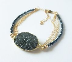 "Natural Black Druzy Goldfilled Chain and Spinel by KatKDesigns, $78.00  Repin any pin on my ""Jewelry I created"" board and receive a 15% off coupon code to use on any item. Just send me a convo through Etsy with a link to the repin to receive the coupon code."