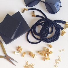Veronica DeOre statement eyewear jewelry in the making! Eyeglass Holder, Leather Craft, Eyeglasses, Eyewear, Fashion Jewelry, Jewelry Making, Chain, Crafts, Bracelets