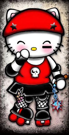 hello kitty inferi punk princess roller derby girl w bloody mace, skates, fishnets, skull tank top and helmet pendant necklace. $20.00, via Etsy.