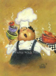 Singing Chef Print, fat chef, kitchen art, paintings, prints, cuisine, food, whimsical, silly, chefs, Vickie Wade Art
