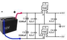 Fonte simétrica de 5 Volt Electronics Projects, Simple Electronics, Electronic Circuit Projects, Hobby Electronics, Electrical Projects, Electronics Components, Electrical Engineering, Power Supply Circuit, Electronic Schematics