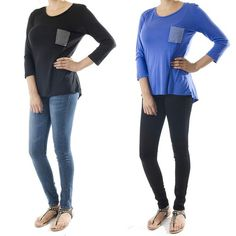 ebclo - Super Soft Studded Front Patch Pocket with 3/4 Sleeves  $17.00 Free Domestic Shipping