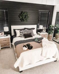 Black Master Bedroom, Master Bedroom Makeover, Master Bedroom Design, Home Decor Bedroom, Bedroom Ideas, Gray Bedroom, Master Bedroom Color Ideas, Black White And Grey Bedroom, White And Grey Bedroom Furniture