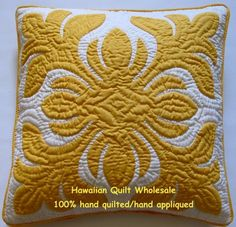 """Hawaiian Quilt Cushions 2 Pillow Covers Handmade 100 Hand Quilted Appliqued 18"""" 