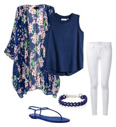 """blue"" by danielagomes-i ❤ liked on Polyvore featuring Mode, H&M, Frame Denim und René Caovilla"