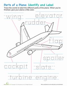Do you know the parts of a plane? Have your kid trace and color his way to aviation expertise with these worksheets focusing airplane parts.