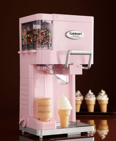 For The Little One: Soft Serve Ice Cream Maker by Cuisinart at Neiman Marcus. I love this ice cream machine!Cutest soft serve ice cream maker by Cuisinart! Has places for easy-dispense sprinkles and a spot to hold your ice cream cones! How delicious! Small Kitchen Appliances, Cool Kitchens, Cream Kitchens, Fun Kitchen Gadgets, Diner Kitchen, House Appliances, Retro Appliances, Fun Gadgets, Kitchen Small