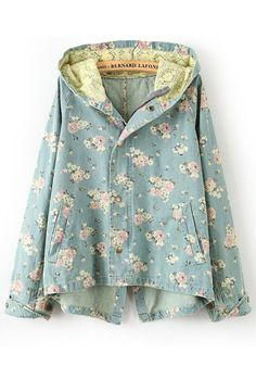 Multicolor Floral Pockets Single Breasted Denim Trench Coat
