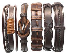 6 piezas de cuero marrón pulsera Set Unisex por BraceletStreetUSA