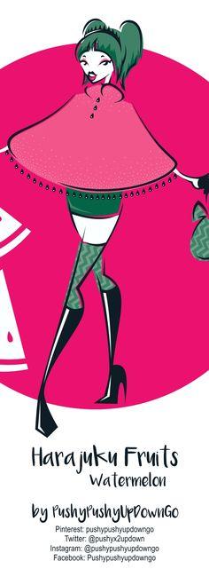 From my Harajuku Fruits kawaii fashion illustration series (available as part of a postcard art print set) Fruit Illustration, Handmade Shop, Handmade Items, Handmade Gifts, Postcard Art, Etsy Christmas, Pink Gifts, Kawaii Fashion, Art Prints