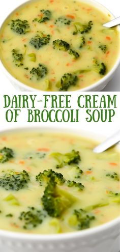 This easy dairy-free cream of broccoli soup is rich and creamy, packed with veggies, and simply delicious! thehiddenveggies.com Easy Vegan Soup, Vegan Soups, Healthy Soup Recipes, Delicious Vegan Recipes, Dairy Free Recipes, Healthy Cooking, Lunch Recipes, Cooking Tips, Vegetarian Recipes