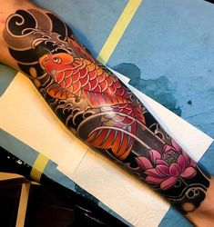 Japanese tattoo sleeve by artemiy_neumoin japaneseink japanesetattoo irezumi tebori colortattoo colorfultattoo cooltattoo symbols and their meanings check out all these different chinese character tattoo design ideas by Pez Koi Tattoo, Koi Tattoo Sleeve, Carp Tattoo, Japanese Sleeve Tattoos, Best Sleeve Tattoos, Lotus Tattoo, Tatto Koi, Koy Fish Tattoo, Tattoo Arm