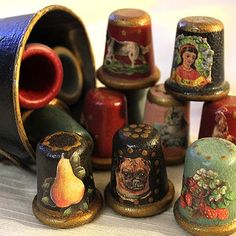 Beautiful hand-painted thimbles.