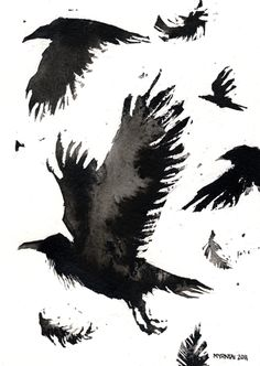 Japanese Ink Painting - Raven on a Barbed Wire Fence - Black Bird Sumi-e Art Pri. Bird Illustration, Illustrations, Japanese Ink Painting, Sumi E Painting, Black Bird Tattoo, Tattoo Bird, Raven Art, Crow Art, Black And White Birds
