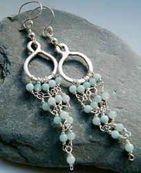 Aquamarine 925 Silver Hoop Chandelier Earrings