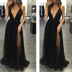 Simple Black Sexy Deep V Neck Cheap Long Prom Dresses, PM0111 The dress is fully lined, 4 bones in the bodice, chest pad in the bust, lace up back or zipper back are all available. This dress could be