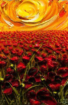 24x36 Field Of Poppies By: Justin Gaffrey
