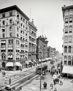 """Springfield, Mass., circa 1908. """"Worthy Hotel, Worthington and Main Sts."""" Dozens of errands frozen in time."""