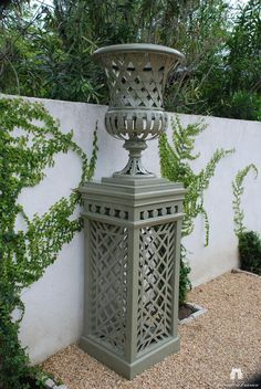 Trianon Vase and Pedestal adds a focal point to your business or home! Add this high end custom trelliage vase to your courtyard or business area, to create an elegant French Inspired focal point. Garden Urns, Garden Fountains, Pedestal, Stone Planters, Urn Planters, Pergola, Garden Ornaments, Garden Spaces, Dream Garden
