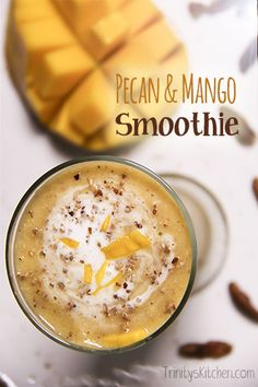 Pecan Mango Smoothie with hints of vanilla and cinnamon