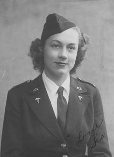 Photograph of 1st Lt Edna Lillie Haertig Atkinson upon enlistment into the Army Nurse Corps ~