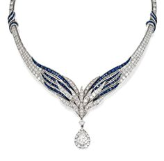 Platinum, Sapphire and Diamond Necklace, E. Pearl Of winged graduated design set with round diamonds weighing approximately 23.35 carats, accented by calibré-cut sapphires, supporting a pendant set with a pear-shaped diamond weighing approximately 3.35 carats, framed by round diamonds, length 15 inches, signed E. Pearl