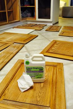 Prepping Cabinets For Paint (Sanding, Deglossing, Wood Putty) <--- don't skip the important stuff!