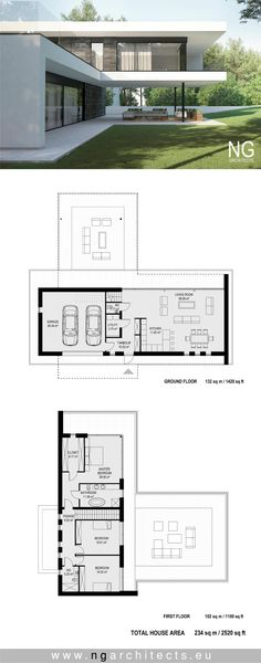 plan de maison moderne Villa AIR conçu par les architectes NG www. Modern Architecture House, Architecture Plan, Modern House Plans, Modern House Design, Sims House Plans, Casas Containers, House Layouts, Plan Design, House Plans Design